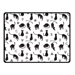 Black Cats And Witch Symbols Pattern Fleece Blanket (small) by Valentinaart