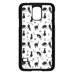 Black Cats And Witch Symbols Pattern Samsung Galaxy S5 Case (black)