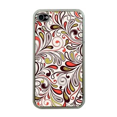 Colorful Abstract Floral Background Apple Iphone 4 Case (clear) by TastefulDesigns