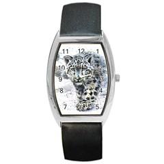 Snow Leopard Barrel Style Metal Watch by kostart