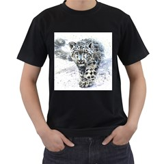 Snow Leopard Men s T Shirt (black) (two Sided)