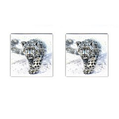 Snow Leopard Cufflinks (square) by kostart