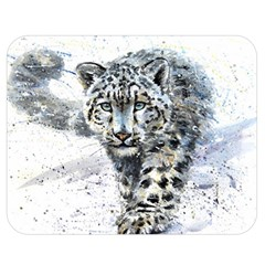 Snow Leopard Double Sided Flano Blanket (medium)  by kostart