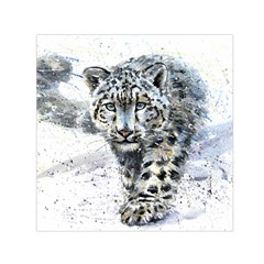Snow Leopard Small Satin Scarf (square) by kostart