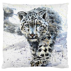 Snow Leopard  Large Cushion Case (one Side) by kostart