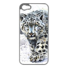 Snow Leopard  Apple Iphone 5 Case (silver) by kostart
