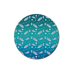 Under The Sea Paisley Rubber Round Coaster (4 Pack)