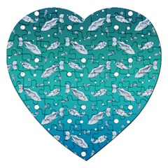 Under The Sea Paisley Jigsaw Puzzle (heart)