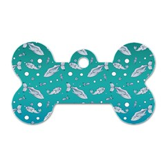 Under The Sea Paisley Dog Tag Bone (two Sides)