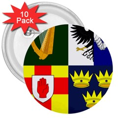 Arms Of Four Provinces Of Ireland  3  Buttons (10 Pack)