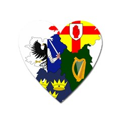 Flag Map Of Provinces Of Ireland  Heart Magnet by abbeyz71