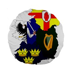 Flag Map Of Provinces Of Ireland  Standard 15  Premium Flano Round Cushions by abbeyz71