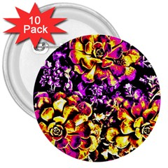 Purple Yellow Flower Plant 3  Buttons (10 Pack)