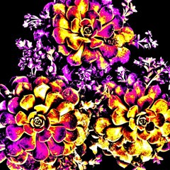 Purple Yellow Flower Plant Magic Photo Cubes by Costasonlineshop