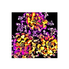 Purple Yellow Flower Plant Satin Bandana Scarf by Costasonlineshop