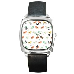 Assorted Birds Pattern Square Metal Watch by linceazul