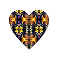 Mystic Yellow Blue Ornament Pattern Heart Magnet by Costasonlineshop