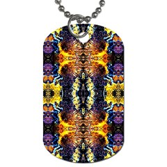 Mystic Yellow Blue Ornament Pattern Dog Tag (two Sides)