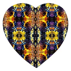 Mystic Yellow Blue Ornament Pattern Jigsaw Puzzle (heart) by Costasonlineshop