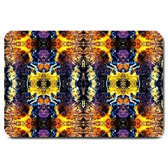 Mystic Yellow Blue Ornament Pattern Large Doormat  by Costasonlineshop
