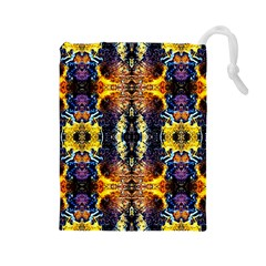 Mystic Yellow Blue Ornament Pattern Drawstring Pouches (large)  by Costasonlineshop