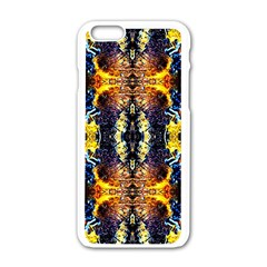 Mystic Yellow Blue Ornament Pattern Apple Iphone 6/6s White Enamel Case by Costasonlineshop