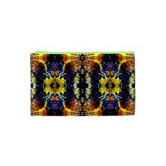Mystic Yellow Blue Ornament Pattern Cosmetic Bag (xs) by Costasonlineshop