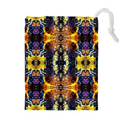 Mystic Yellow Blue Ornament Pattern Drawstring Pouches (extra Large) by Costasonlineshop