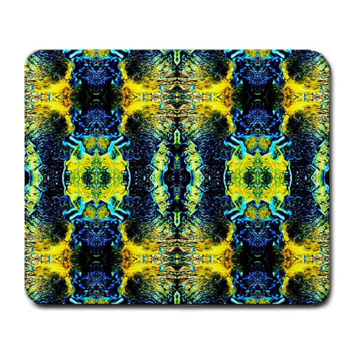 Mystic Yellow Green Ornament Pattern Large Mousepads