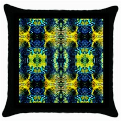 Mystic Yellow Green Ornament Pattern Throw Pillow Case (black) by Costasonlineshop
