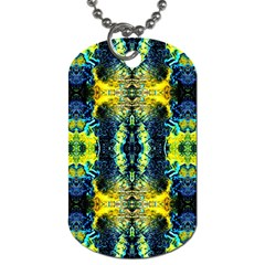 Mystic Yellow Green Ornament Pattern Dog Tag (two Sides) by Costasonlineshop