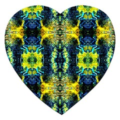 Mystic Yellow Green Ornament Pattern Jigsaw Puzzle (heart) by Costasonlineshop