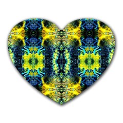 Mystic Yellow Green Ornament Pattern Heart Mousepads by Costasonlineshop