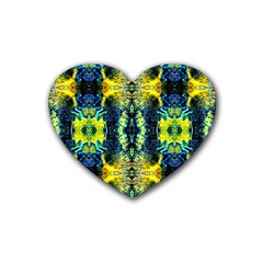 Mystic Yellow Green Ornament Pattern Heart Coaster (4 Pack)  by Costasonlineshop