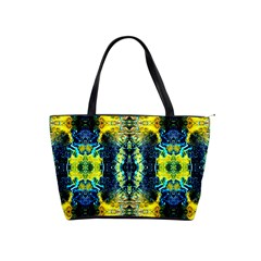 Mystic Yellow Green Ornament Pattern Shoulder Handbags by Costasonlineshop