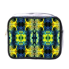 Mystic Yellow Green Ornament Pattern Mini Toiletries Bags by Costasonlineshop