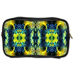 Mystic Yellow Green Ornament Pattern Toiletries Bags by Costasonlineshop