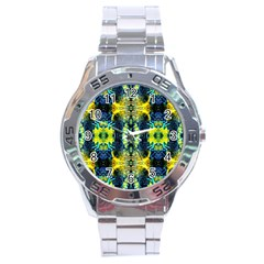Mystic Yellow Green Ornament Pattern Stainless Steel Analogue Watch by Costasonlineshop