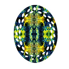 Mystic Yellow Green Ornament Pattern Oval Filigree Ornament (two Sides) by Costasonlineshop