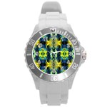Mystic Yellow Green Ornament Pattern Round Plastic Sport Watch (L) Front