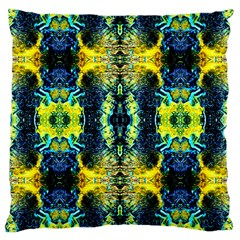 Mystic Yellow Green Ornament Pattern Large Cushion Case (two Sides) by Costasonlineshop
