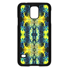 Mystic Yellow Green Ornament Pattern Samsung Galaxy S5 Case (black) by Costasonlineshop