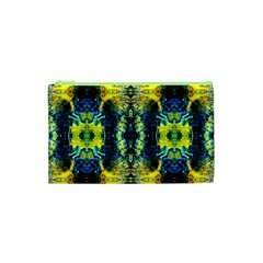 Mystic Yellow Green Ornament Pattern Cosmetic Bag (xs) by Costasonlineshop