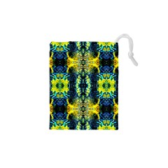 Mystic Yellow Green Ornament Pattern Drawstring Pouches (xs)  by Costasonlineshop