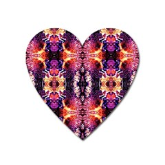 Mystic Red Blue Ornament Pattern Heart Magnet by Costasonlineshop