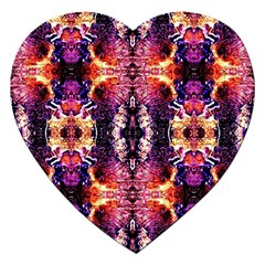 Mystic Red Blue Ornament Pattern Jigsaw Puzzle (heart) by Costasonlineshop
