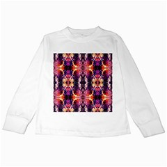 Mystic Red Blue Ornament Pattern Kids Long Sleeve T Shirts