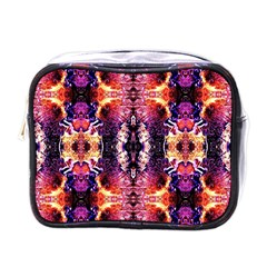 Mystic Red Blue Ornament Pattern Mini Toiletries Bags by Costasonlineshop