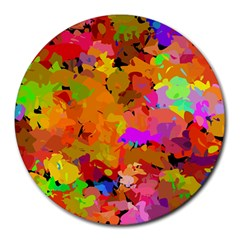 Colorful Shapes             Round Mousepad by LalyLauraFLM