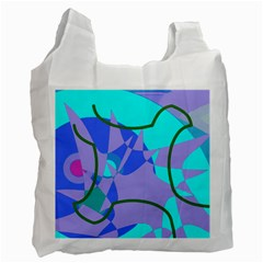 Purple Blue Shapes              Recycle Bag (one Side)
